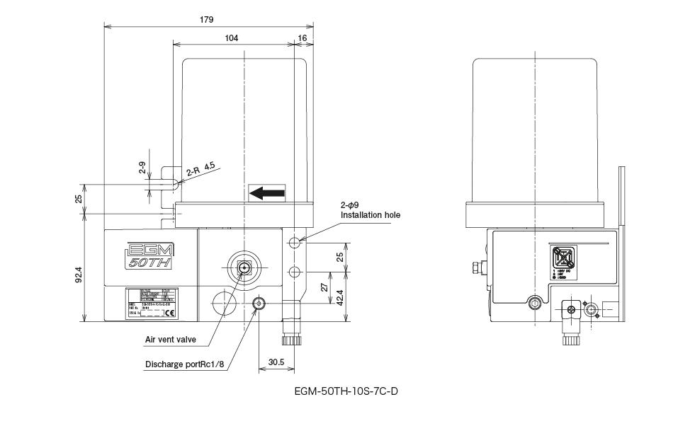 EGM-50TH type(Auto Lubrication Pump) Dimensional Drawing