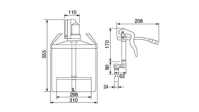Supply grease Pump Dimensional Drawing